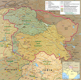 Kashmir - Political map: the Kashmir region districts, showing the Pir Panjal range and the Kashmir valley or Vale of Kashmir.
