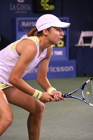 Katarina Srebotnik playing doubles at the 2007...