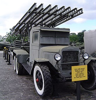 Rocket launcher - A World War II Katyusha rocket launcher, mounted on a ZiS-6 truck.