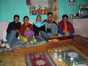 Kaza, Himachal Pradesh - Family at home with visitors, Kaza, 2004