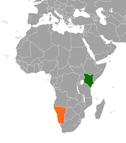 Map indicating locations of Kenya and Namibia
