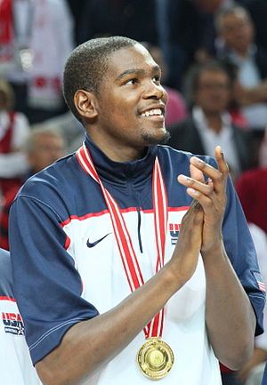 Kevin Durant - Durant with his gold medal at the 2010 FIBA World Championship in Turkey