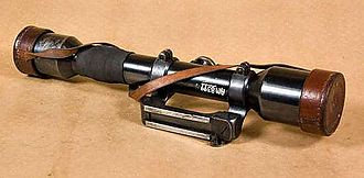 Telescopic sight - Telescopic sight (German made ZF Ajack 4×90 (4×38 in modern terminology)) for the World War II pattern Swedish sniper rifle m/1941.