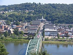 The Kittanning Citizens Bridge, Armstrong County Courthouse, and downtown of Kittanning