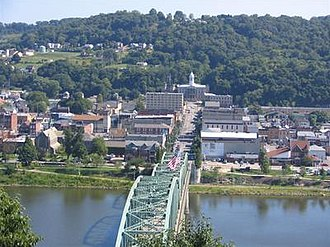 Kittanning, Pennsylvania - The Kittanning Citizens Bridge, Armstrong County Courthouse and downtown of Kittanning