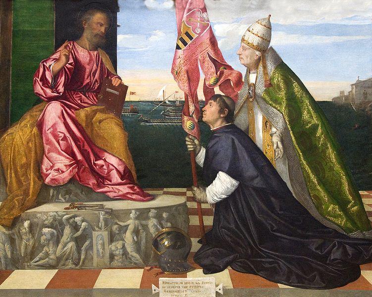 File:Kmska Titiaan - Jacopo Pesaro bisschop van Paphos voorgesteld door paus Alexander VI Borgia aan de heilige Petrus - 28-02-2010 13-56-55.jpg