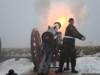 Prince Vincent of Denmark - Gun salute being fired from Kronborg Castle to mark the birth of Prince Vincent.