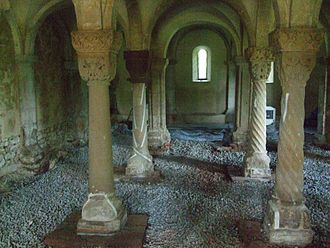 Konradsburg - Crypt of the old abbey church during restoration in 2010