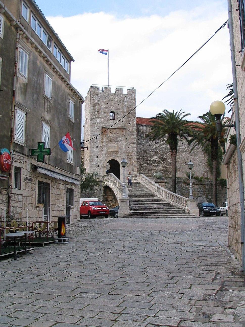 Amid the streets of Korčula.