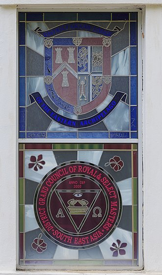 Jesselton Freemason Hall - Stained glass window of Jesselton Freemason Hall (view from outside).