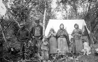 Koyukon - Koyukon people on left bank of Koyukuk River, 195 miles above its mouth, September 6, 1898.
