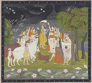 Kangra painting - Krishna playing a flute, ca. 1790-1800 Rajput period.