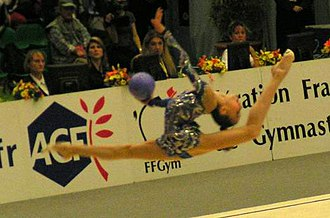 Ball (rhythmic gymnastics) - Valeria Kurylskaya performing with the ball at a competition in 2004