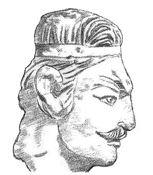 Khalchayan - Head of a Kushan prince (Khalchayan palace, Uzbekistan).