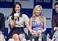 Kwon Yu-ri and Kim Hyo-yeon at the Dancing 9 press conference 03.jpg