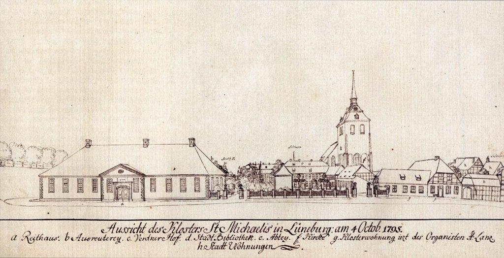 Michaelisklostret med skolbyggnaden, där Bach fortsatte sin utbildning.
