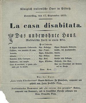 La casa disabitata - Programme for the 1835 performance