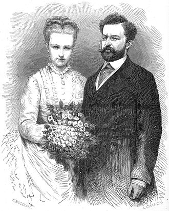 Princess Louise of Belgium - Princess Louise of Belgium and prince Philippe of Saxe-Coburg and Gotha. Engraving after a photograph taken at the time of their marriage in Brussels, on 4 February 1875.