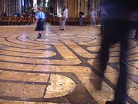 Walking the famous labyrinth in Chartres Cathedral.