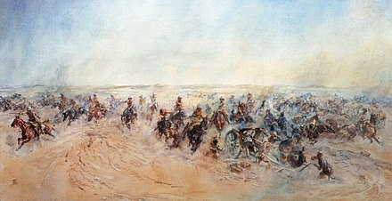 Jerusalem Delivered by Lady Butler, depicting the 1/1st Warwickshire Yeomanry and 1/1st Queen's Own Worcestershire Hussars in one of the British Army's last cavalry charges at Huj. Lady Butlers Charge at Huj.jpg