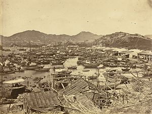 1874 Hong Kong typhoon - Aftermath of the Typhoon.  Photo by Lai Afong.