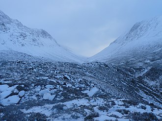 Lairig Ghru - The northern entrance to the Lairig Ghru, with Lurcher's Crag (left) and Braeriach (right)