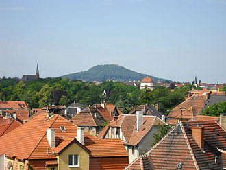 "Görlitz - The Landeskrone, literally ""land's crown"", the local mountain of Görlitz, as seen from Zgorzelec"
