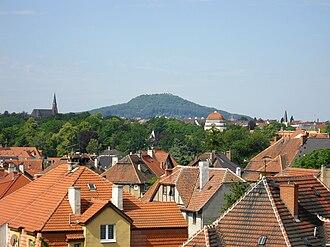 "Görlitz - The Landeskrone, literally ""land's crown"", the local mountain of Görlitz, as seen from Zgorzelec"