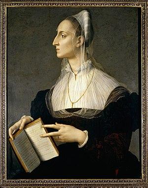 Laura Battiferri -  Bronzino, Portrait of Laura Battiferri, c. 1560; Oil on canvas; Palazzo Vecchio, Florence.