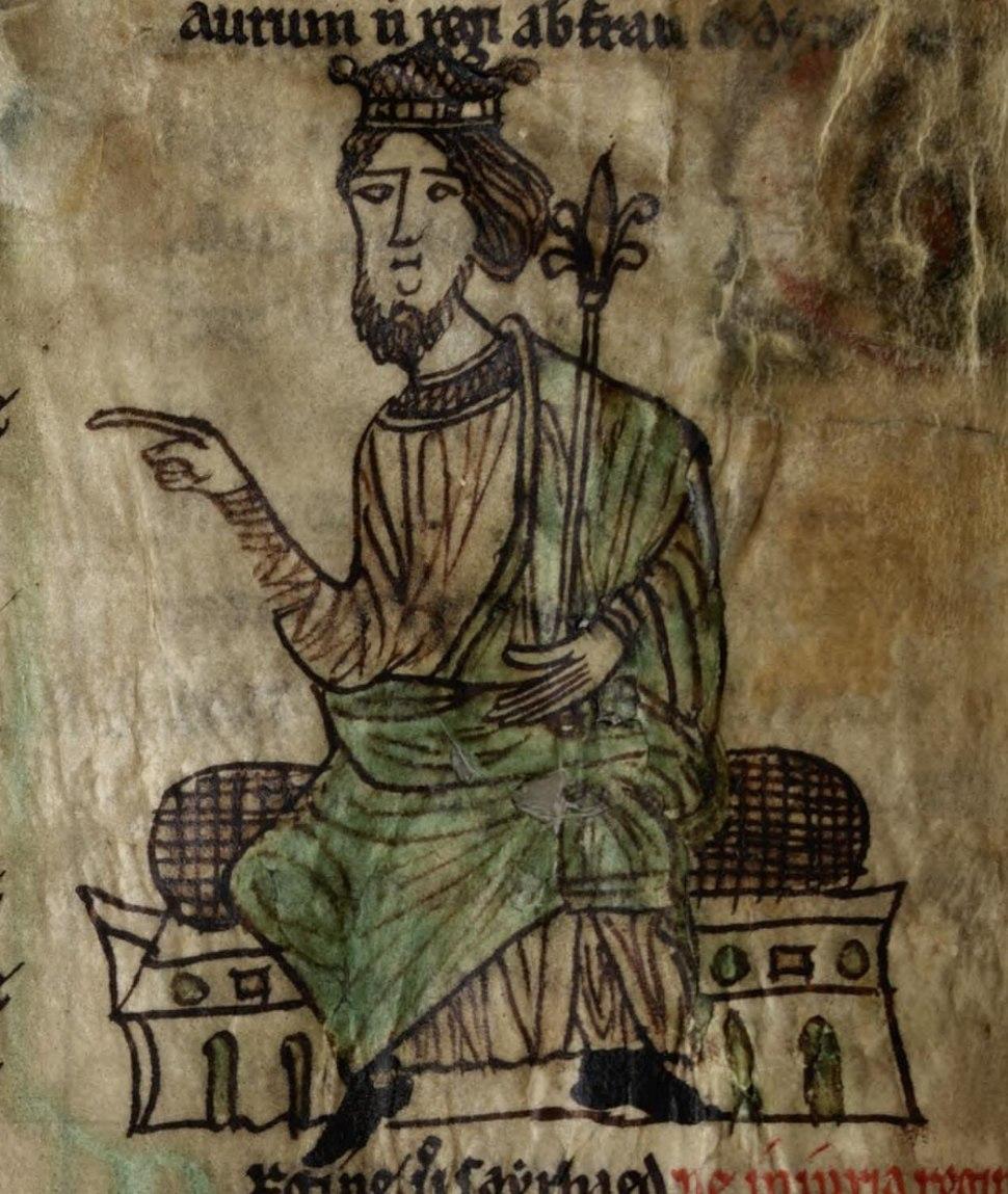 Laws of Hywel Dda (f.1.v) King Hywel cropped