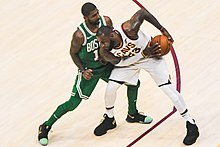 2de226a8c7c James protects the ball from Kyrie Irving in October 2017. The two were  teammates in Cleveland for three seasons.