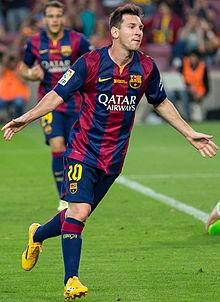Messi celebra un gol realizzato ai danni del Granada nel 2014