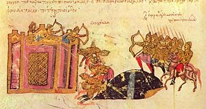 Leo Tornikios - Tornikios' attack against Constantinople, from the Madrid Skylitzes.