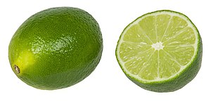 Lime (fruit) - Limes, whole and in cross section