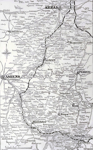 66th Division (United Kingdom) - Image: Limit of the German advance during Operation Michael, March–April 1918