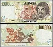 100000 Lires Caravaggio.