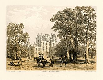 Glamis Castle - A lithograph of Glamis Castle, created between 1847 and 1854