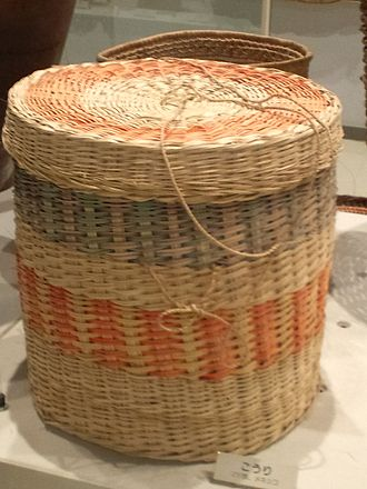 Container - Display of a woven basket from the Maya peoples of Mexico.