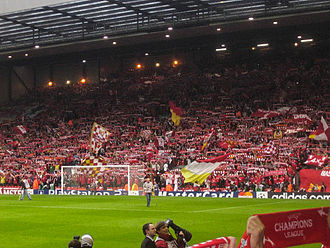 Liverpool F.C.–Manchester United F.C. rivalry - Liverpool Kopites in The Kop stand at Anfield