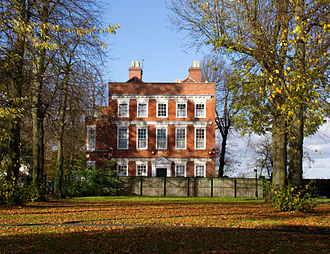 """Farm, Bordesley - Farm, the Georgian mansion built on the """"Owen's Farm"""" estate within the manor of Bordesley, by Sampson II Lloyd (1699 - 1779). Still set within a ten acre remnant (a public recreation ground known as """"Farm Park"""") of its former 56 acre grounds. Now surrounded by the urban landscape of Sparkbrook and the suburbs of Birmingham"""