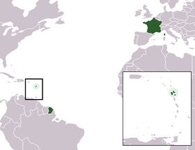 Map of France highlighting the Region of Guadeloupe