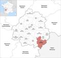Locator map of Kanton Vallée Dordogne 2019.png