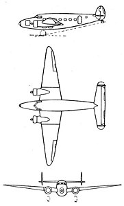 Lockheed Lodestar 3-view L'Aerophile January 1940.jpg