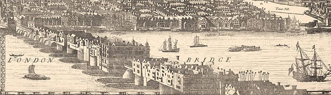 English: Drawing of London Bridge from a 1682 ...