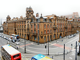 London Road Fire Station, Manchester - View from junction of London Road and Whitworth Street