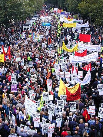 Anti-war protest in London, September 2002. Organised by the British Stop the War Coalition, up to 400,000 took part in the protest. London anti-war protest banners.jpg