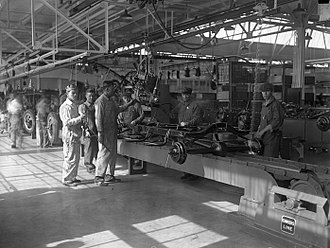 Operations management - Ford Motor car assembly line: the classical example of a manufacturing production system.