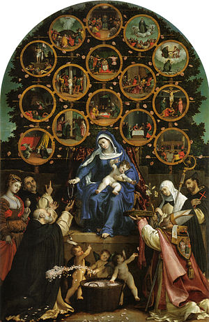Lorenzo Lotto - Madonna of the Rosary (1539), oil on canvas.
