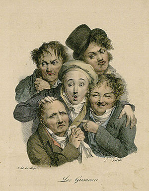 Les grimaces (Funny faces). Lithography by Lou...