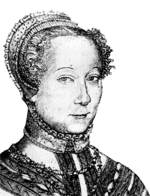 Louise Labé - Louise Labé; engraving by Pierre Woeiriot, 1555